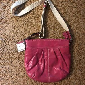 Raspberry Patent Coach Crossbody NWT